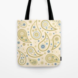 Paisley Funky Design Cream Golds Blues Tote Bag
