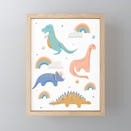 Dinosaurs + Rainbows in Blush Pink + Gold + Blue Framed Mini Art Print