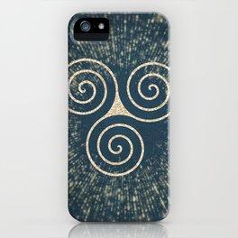 Triskelion Golden Three Spiral Celtic Symbol iPhone Case
