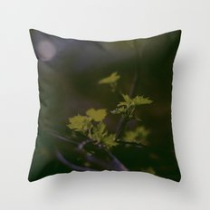 GREEN LEAVES IN THE EARTH  Throw Pillow