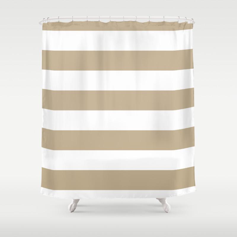 Horizontal Stripes White And Khaki Brown Shower Curtain