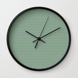 Thin Forest Green and White Rustic Horizontal Sailor Stripes Wall Clock