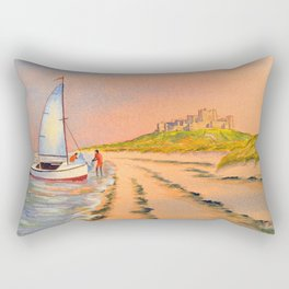 Dinghy Sailing At Bamburgh Beach Rectangular Pillow