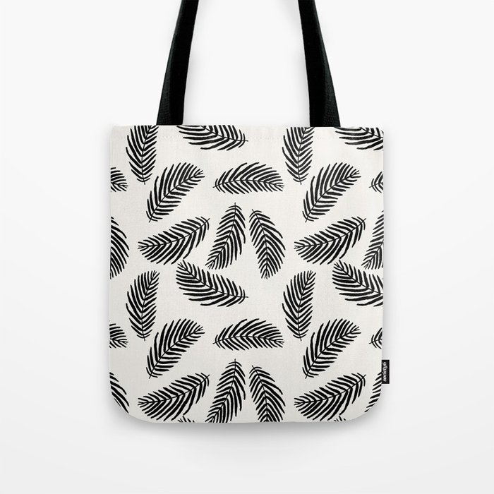 Palm trees black and white tropical minimal ocean seaside socal beach life pattern Tote Bag