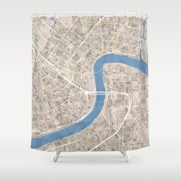 New Orleans Cobblestone Watercolor Map Shower Curtain