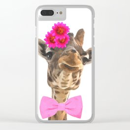 Giraffe funny animal illustration Clear iPhone Case