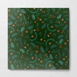 Leaves in Hunter Green Metal Print