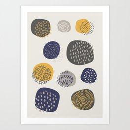 Abstract Circles in Mustard, Charcoal, and Navy Art Print
