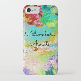 ADVENTURE AWAITS Wanderlust Typography Explore Summer Nature Rainbow Abstract Fine Art Painting iPhone Case