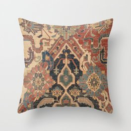 Geometric Leaves I // 18th Century Distressed Red Blue Green Colorful Ornate Accent Rug Pattern Throw Pillow