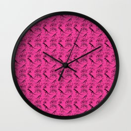 Vintage Museum Animals | Dinosaurs &  Skeletons on Pink | Surface Pattern Repeat Wall Clock
