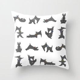 scottie yoga pose artwork Throw Pillow