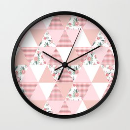 Quilt quilter cheater quilt pattern florals pink and white minimal modern nursery art Wall Clock
