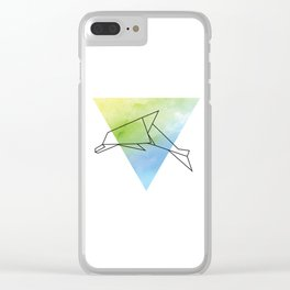 Origami Dolphin Clear iPhone Case