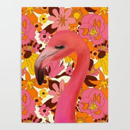 Flamingo with Retro Nz Floral Poster
