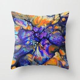 Purple and Orange Marble Pour Throw Pillow