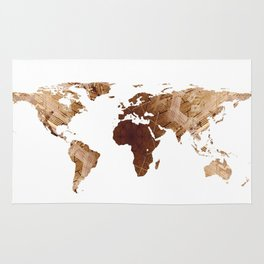 World Map Silhouette - Abstract Photo-Mandala (Wh) Rug