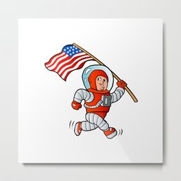 Astronaut with american flag Metal Print