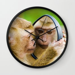 Monkey Mirror (Color) Wall Clock