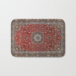 N63 - Red Heritage Oriental Traditional Moroccan Style Artwork Bath Mat