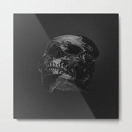 3D Data Mosh Skull - Black Wide Metal Print