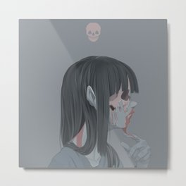pink skull zombie girl Metal Print