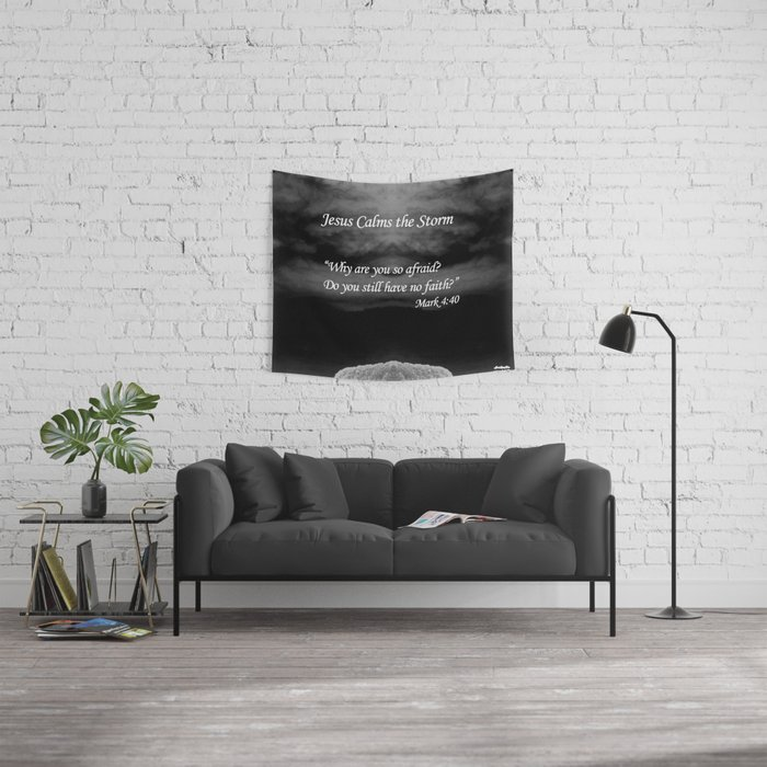 Faith Religious Art--- Jesus Calms the Storm--- Bible Scripture Mark 4:  35-41 By Saribelle Rodriguez Wall Tapestry
