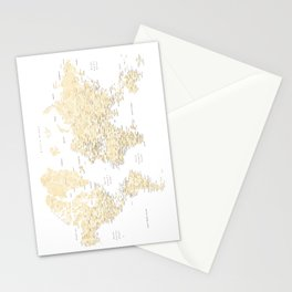 Floral watercolor world map in cream and light brown, Remy Stationery Cards