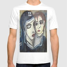 MOTHER AND CHILD White Mens Fitted Tee SMALL