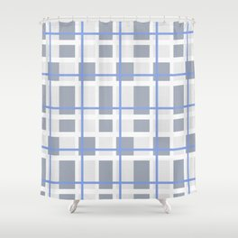Retro Abstract Plaid Blue and Gray Shower Curtain