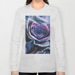 Macro photography of purple - neon roses with raindrops. Fantasy and magic concept. Selective focus. Long Sleeve T-shirt