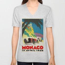 Vintage 1932 Monaco Grand Prix Racing Advertising Poster Unisex V-Neck