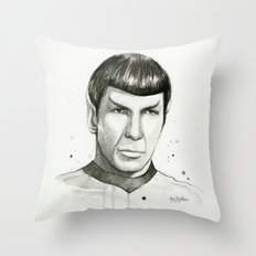 Spock Watercolor Portrait Throw Pillow