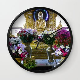 Buddha Shrine a Kuthodaw Pagoda, Myanmar Wall Clock