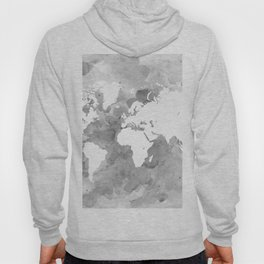 Design 49 Grayscale World Map Hoody