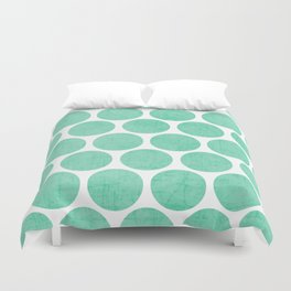 mint polka dots Duvet Cover