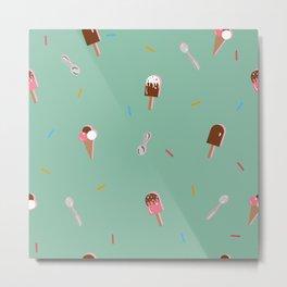 Cute Ice cream pattern with vanilla ice cream, chocolate ice cream, ice cream in a cone, sprinkles Metal Print