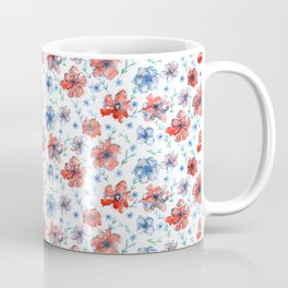 Blue and Red Floral Coffee Mug