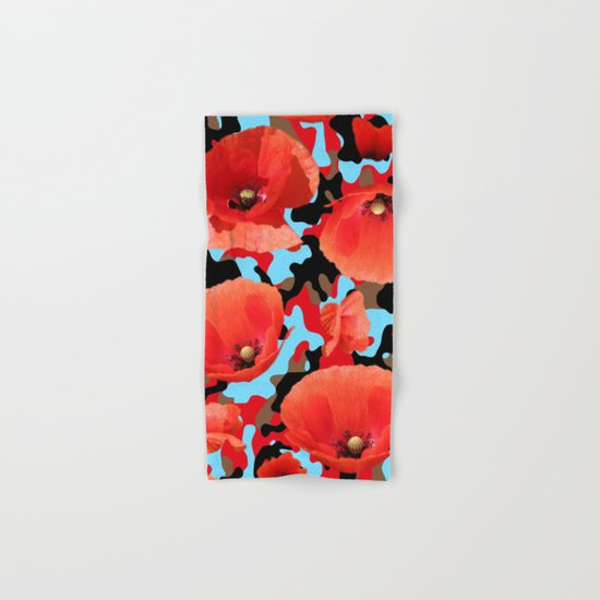 Poppie Camouflage Red Blue -Living Hell Hand & Bath Towel
