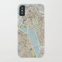 boston map iPhone & iPod Cases featuring Boston Sepia Watercolor Map by Anne E. McGraw