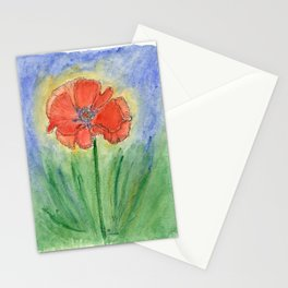 Red Poppy-2 (Papaver rhoeas) Stationery Cards