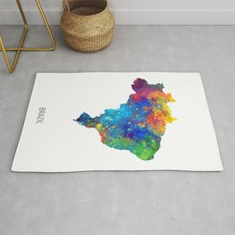 Brazil Watercolor Map Rug