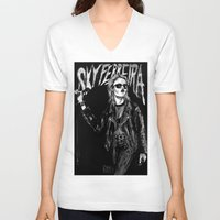 sky ferreira V-neck T-shirts featuring Sky ferreira no,13 ''Night time is my time''' by Lucas David