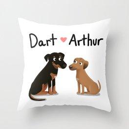 "Custom Dog Art ""Dart and Arthur"" Throw Pillow"