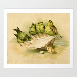 Vintage Yellow Birds on Seashell Art Print