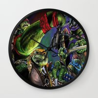teenage mutant ninja turtles Wall Clocks featuring Teenage Mutant Ninja Turtles by artbywilliam
