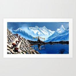 Panoramic View Of Annapurna Mountain Nepal Art Print