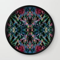 good vibes Wall Clocks featuring GOOD VIBES by Lara Gurney