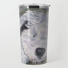 OES Old English Sheepdog dog art portrait from an original painting by L.A.Shepard Travel Mug