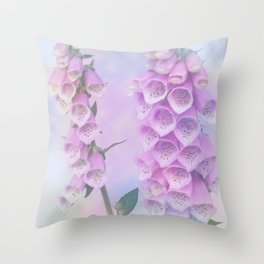 Pastel painterly foxgloves Throw Pillow